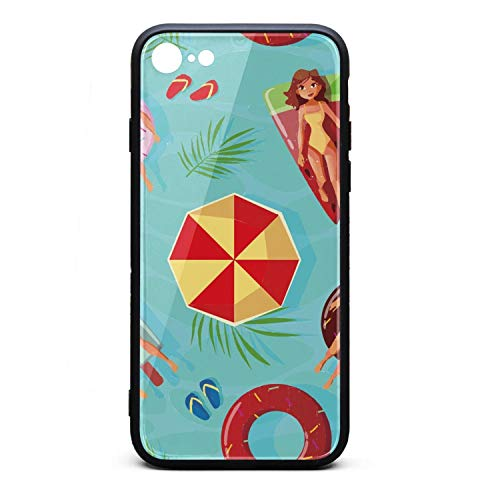 Xanx Smon iPhone 6S case iPhone 6 Case Summer Pool Party Time Soft Silicone Bumper 9H Tempered Glass Back Cover Compatible iPhone 6/iPhone 6S