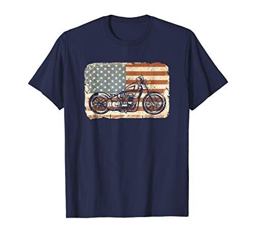 Mens Motorcycle American Flag patriotic vintage July 4th shirt Large Navy