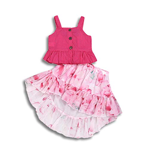 - Toddler Baby Girl Skirt Sets Sleeveless Off The Shoulder Ruffle Tank Vest + Floral Print Boho Sundress Dress Summer Outfits 2PCS (Pink, 12-18 Months)