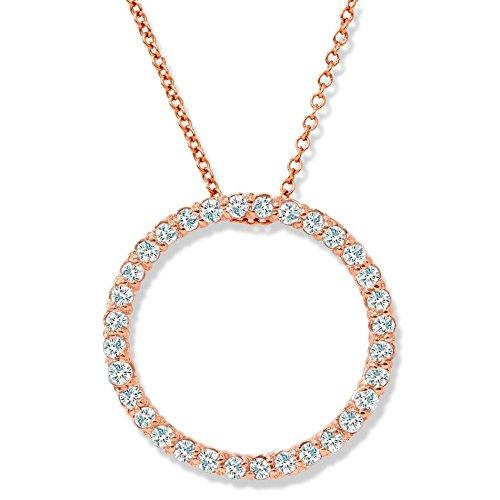 1/2ct Circle Diamond Pendant 14K Rose Gold 1/2 Ct Diamond Circle Pendant