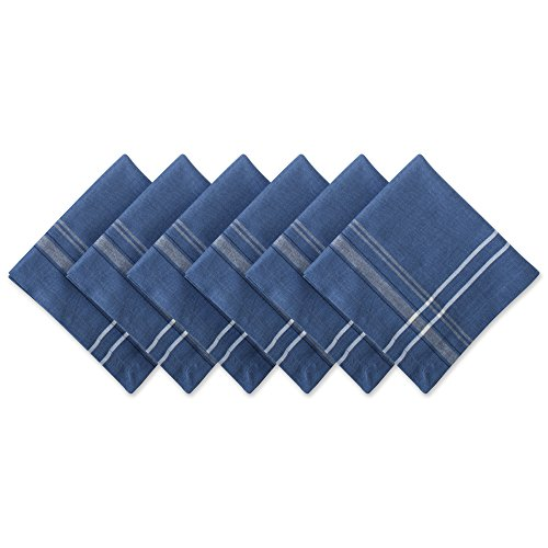 DII 100% Cotton, Oversized Basic Everyday 20x20'' Napkin Set of 6, Blue Chambray French Stripe by DII