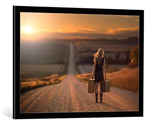 kunst für alle Framed Art Print: Jake Olson Leaving Nebraska - Decorative Fine Art Poster, Picture with Frame, 33.5x23.6 inch / 85x60 cm, Black/Edge Grey
