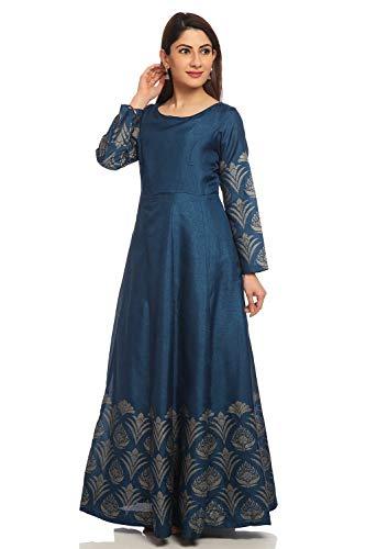 BIBA Navy Blue Anarkali Art Silk Suit Set Size 38 (Blue Salwar Suit)