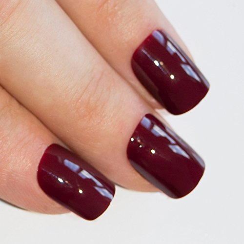 Bling Art False Nails French Fake Cherry Red Brown Squoval 24 Acrylic Medium Tip Design Bling