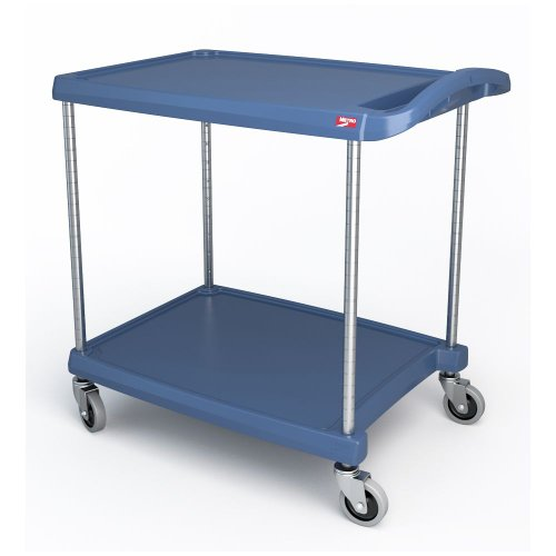 - InterMetro Industries MY1627-24BU Mycart Series Blue Polymer Utility Cart With Built-In Microban Antimicrobial Product Protection, 2 Shelf, 35.38 X 31.44 X 18.31-Inch