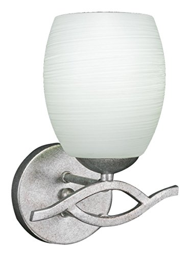 Toltec Lighting 141-AS-615 Revo Wall Sconce with 5″ White Linen Glass, Aged Silver Finish