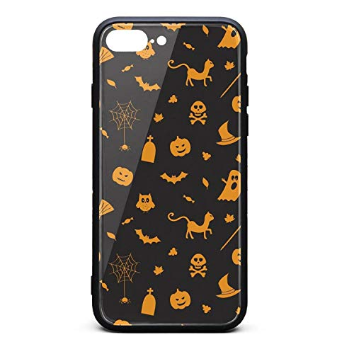 Halloween Pumpkin Spider owl Ghost Black Compatible with iPhone7/8 Plus Cases Cute Printted Shock-Absorption iPhone Cover]()
