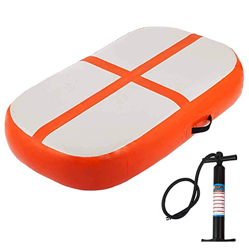 Happybuy Air Track Block 4 inches Small Air Track Inflatable AirTrack Tumbling Mat for Gymnastics Martial Arts Cheerleading Tumble Track with Pump Orange 3.3ft 24x4in