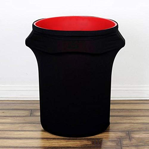 Efavormart New 24-40 Gallons Commercial Grade Black Stretch Spandex Round Waste Trash Bin Container Cover