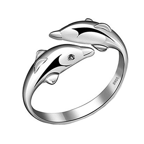 925 Silver Plated Vintage Double dolphin Women Open Band Ring,adjustable ()
