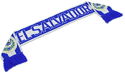 "Salvador Ladies El (High End Hats ""Official Nations of North America Scarf Collection"" Double Weave Head Scarf for Men or Women, El Salvador, White Blue)"