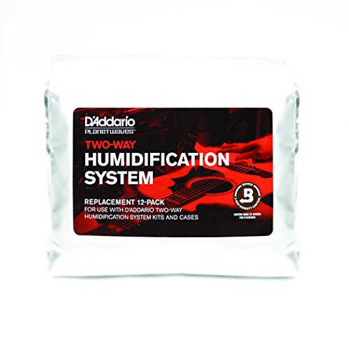 D'Addario Two-Way Humidification System Replacement Packets (12pk) - Automatically Adjusts to Maintain Ideal Humidity Level Within Guitar Case - Protects Instrument from Humidity Damage, Mess Free