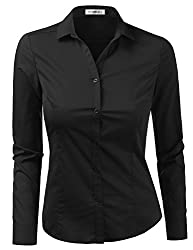 Doublju Womens Slim Fit Plain Classic Long Sleeve Button Down Collar Shirt Blouse Black Large