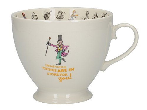 CreativeTops Roald Dahl Footed China Mug with Quentin Blake Charlie and The Chocolate Factory Illustration, Porcelain, White/Multi-Colour, 13.5 x 10.5 x 8.5 cm