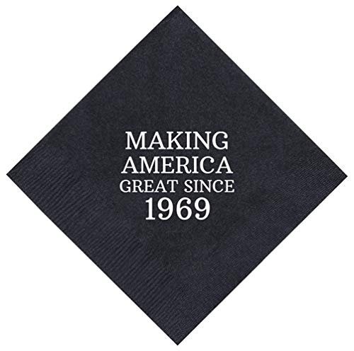 50th Birthday Gifts Making America Great Since 1968 50th Birthday Party Supplies 50 Pack 5x5 Party Napkins Cocktail Napkins Black