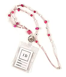 Beaded Lanyard ID Badge Holder Pink, 35\