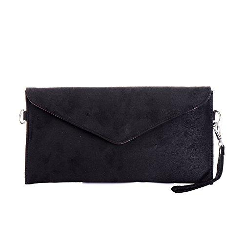 Tedim Soft Faux Suede Black Envelope Clutch (Small Suede Purse)