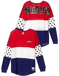 Victorias Secret PINK Bling American Varsity Crew Colorblock T-Shirt Small