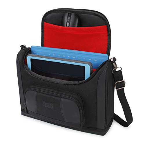 (USA Gear Compact Tablet Messenger Bag Compatible with Galaxy Tab S4 10.5, Galaxy Book 10.6, Galaxy Tab A 10.1 with Durable Exterior, Shoulder Strap, Padded Adjustable Interior Dividers (Red) )