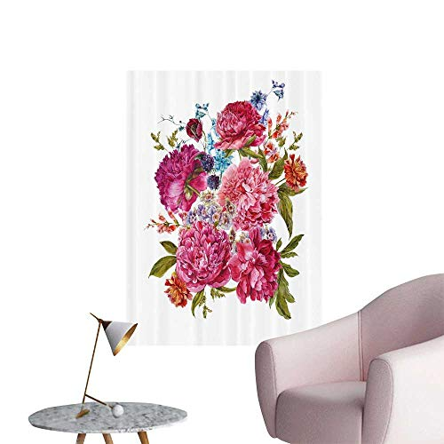 SeptSonne Wall Stickers for Living Room Gentle Summer Flora Hyac THS BlackBerry Peonies Vic rian Vinyl Wall Stickers Print,20