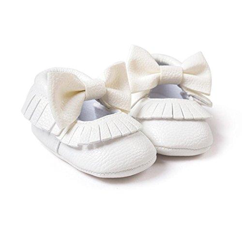 Jamicy® Baby Mädchen Bowknot Quasten Schuhe süße weiche Sohle Leater Freizeitschuh Weiß