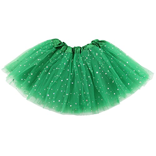 Jastore Girls Layered Stars Sequins Tutu Skirt Princess Ballet Dance Dress (Green)