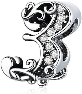 MZNSQB 10 número de Cuentas de Metal del Encanto de la Vendimia para la Mujer Original de Plata 925 Pulsera y Brazalete de joyería de Plata esterlina 9253