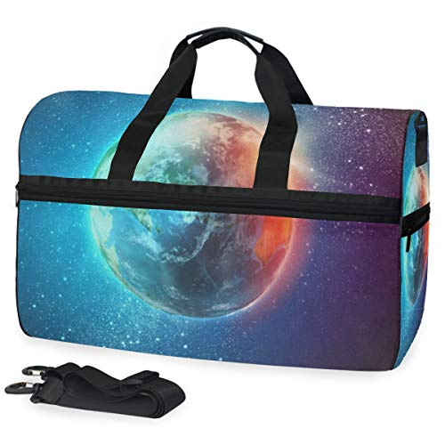 (Gym Bag Magic Earth Planet Stars Space Universe Geography Sport Travel Duffel Bag with Shoes Compartment Large Capacity for)