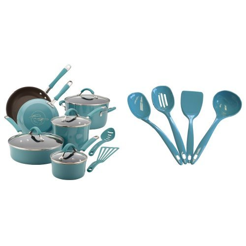 Rachael Ray Cucina Hard Porcelain Enamel Nonstick Cookware Set, 12-Piece, Agave Blue and Calypso Basics Utensil Set of 4, Turquoise Bundle