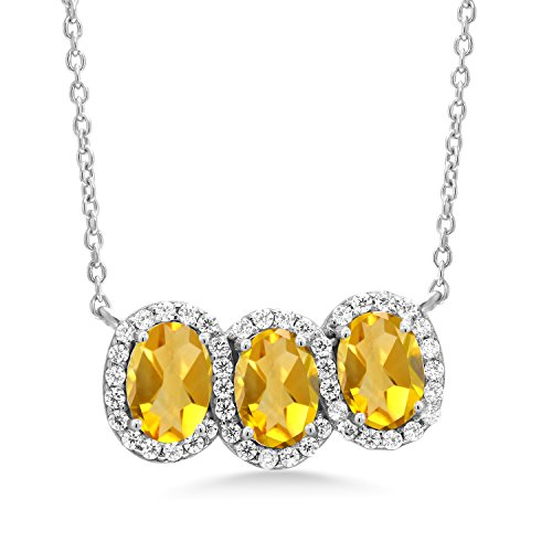 - 2.25 Ct Oval Yellow Citrine 925 Sterling Silver 18
