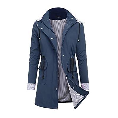 RAGEMALL Women's Raincoats Windbreaker Rain Jacket Waterproof Lightweight Outdoor Hooded Trench Coats: Clothing