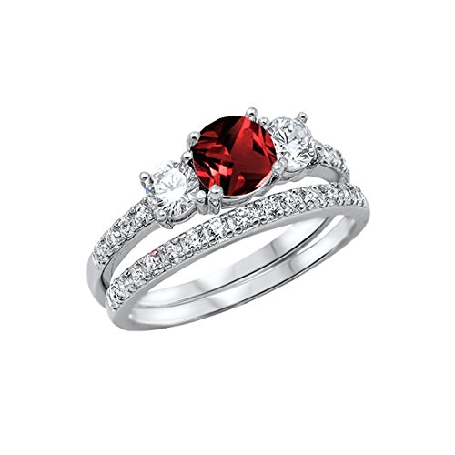 Blue Apple Co. 3-Stone Wedding Bridal Set Ring Band Round Simulated Garnet 925 Sterling Silver, - Asscher Garnet Ring