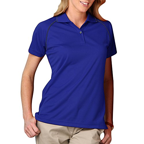 Blue Generation BG6220 - Ladies' Wicking Polo With Contrast Piping (Large, - Generation Blue Polo Shirts