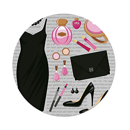Polyester Round Tablecloth,Heels and Dresses,Black Smart Cocktail Dress Perfume Make Up Clutch Bag,Black Light Pink Light Brown,Dining Room Kitchen Picnic Table Cloth Cover,for Outdoor Indoor