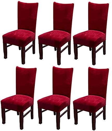 MOCAA Velvet Stretch Dining Room Chair Covers Thick Soft Removable Dining Chair Slipcovers Set of 6 M008 (Wine Red)