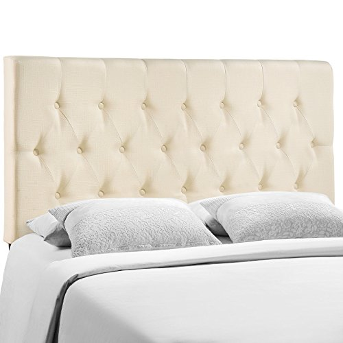 Modway Clique Tufted Button Diamond Pattern Linen Fabric Upholstered King Headboard in Ivory ()