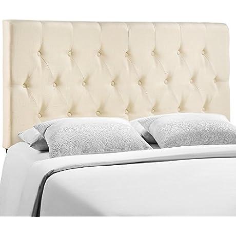 Modern Contemporary King Size Headboard Ivory Fabric