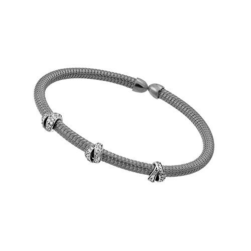 CloseoutWarehouse Clear Cubic Zirconia Three Fashion Design Bracelet Two-Tone Rhodium Plated Sterling Silver by CloseoutWarehouse (Image #2)