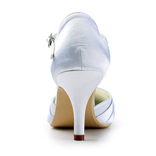 Minitoo TMZ341 Women's Stylish Satin Bridal Wedding Evening Formal Party Pumps Shoes Ivory-7cm Heel Uwjojit