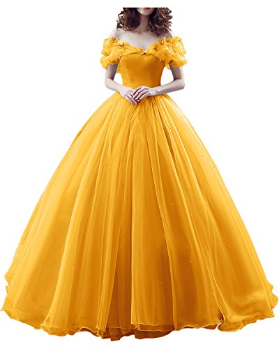 Cinderella Prom Dress, Ball Sweep Train Off-The-Shoulder Short Sleeves Evening Party Gown-Dark Yellow-14 ()