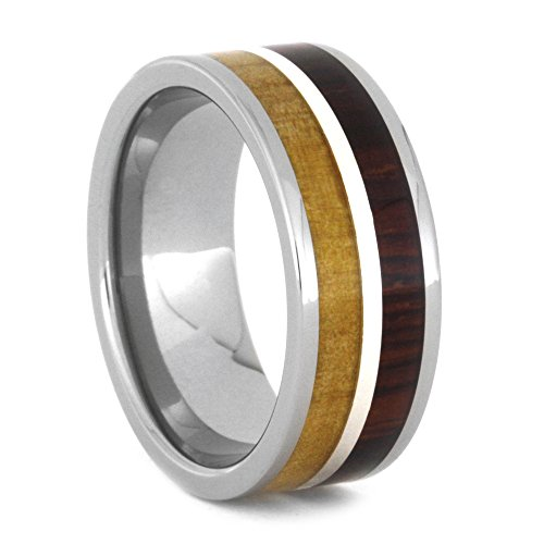 Cocobolo Wood, Birch Wood, Sterling Silver 8mm Comfort-Fit Titanium Wedding Band, Size 6.75 by The Men's Jewelry Store (Unisex Jewelry)