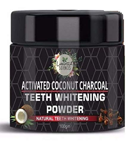 Luxura Sciences Carbon White Activated Charcoal Powder Teeth Whitening Powder with Clove, Mint Extracts. 100 Gms…