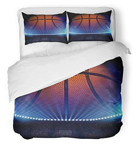 Emvency 3 Piece Duvet Cover Set Breathable Brushed Microfiber Fabric Court Basketball NCAA Ball Basket College Hoop Stadium Fan Bedding with 2 Pillow Covers Full/Queen Size