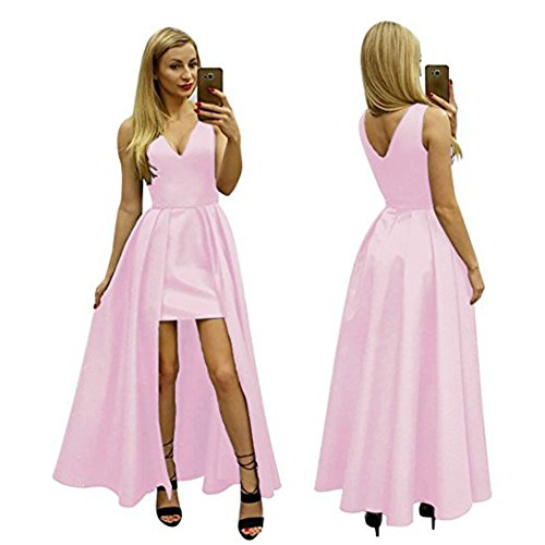 Gowns Prom DMDRS Homecoming Dress Low Women's High Pink Neck Satin V BqwBfO