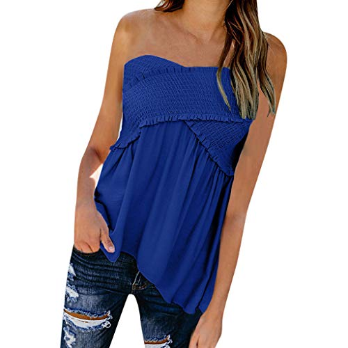 POQOQ Women Fashion Sexy Solid Sleeveless Slash Neck Loose Ruched Blouse Tops(Blue,L)]()