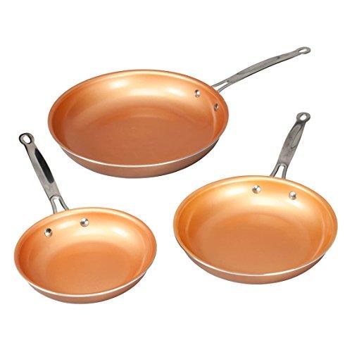 Ceramic Copper Non-stick Fry Pan Set of 3