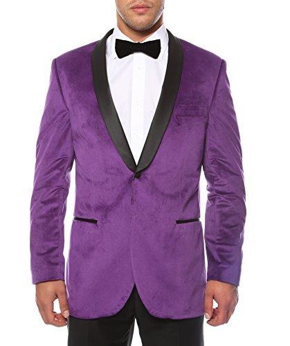 (Ferrecci Men's Enzo Purple Velvet Slim Fit Shawl Lapel Tuxedo Blazer -)