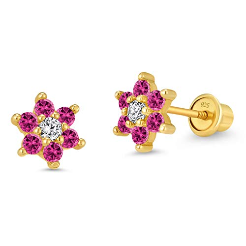14k Gold Plated Brass Flower Cubic Zirconia Screwback Baby Girls Earrings with Sterling Silver Post