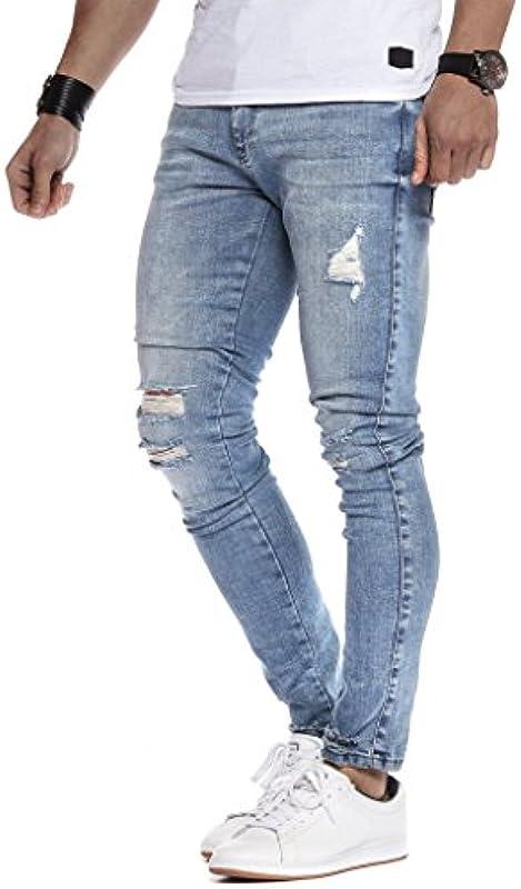 Leif Nelson Męskie dżinsy Slim Fit Denim niebieskie szare długie spodnie jeansowe dla mężczyzn cool chłopcÓw białe stretchowe spodnie cargo chinos lato zima Basic LN9145: Odzież