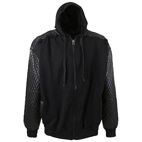 Moderne Herren Sweatshirt Jacke mit gesteppten Ärmeln in Übergröße schwarz